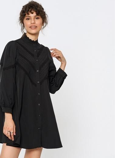 Loves You Nervür Dantel Detaylı Elbise Siyah